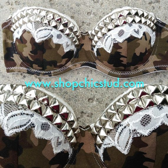 Studded Bustier Bra Top - Camo Print with Cream Lace - Silver- Gold - or- Black Studs on Etsy, $40.00