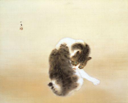 竹内栖鳳「班猫」 1924(大正13)年、絹本彩色、山種美術館蔵、重要文化財