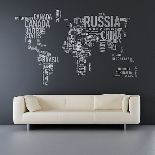 word atlas: Wall Art, Wall Decor, Idea, Living Rooms, Wallart, Wall Maps, Wall Decals, World Maps, Wall Stickers