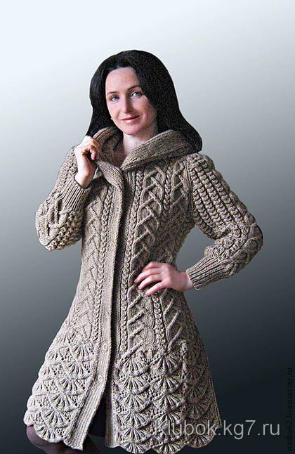 Пальто с каймой и капюшоном от Натальи Лок | Клубок