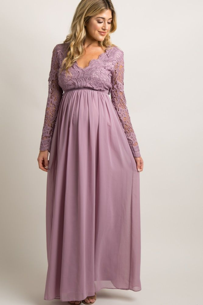 5f1ac65219a4 Mauve Scalloped Crochet Chiffon Maternity Evening Gown in 2019 ...