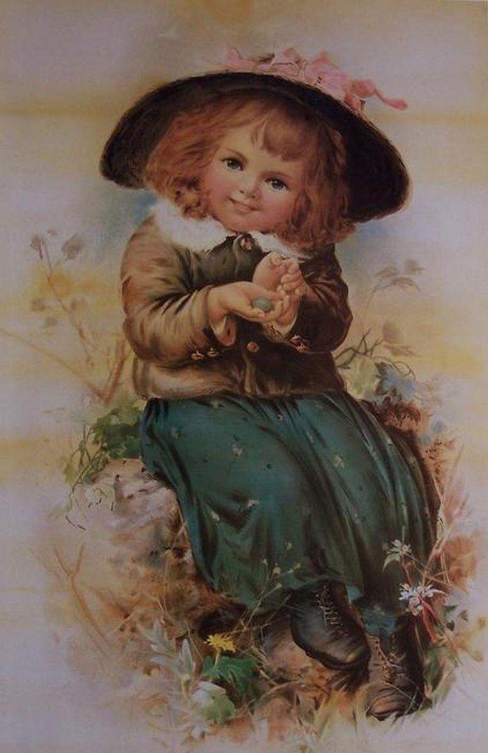 Девочка старинная открытка, открытка