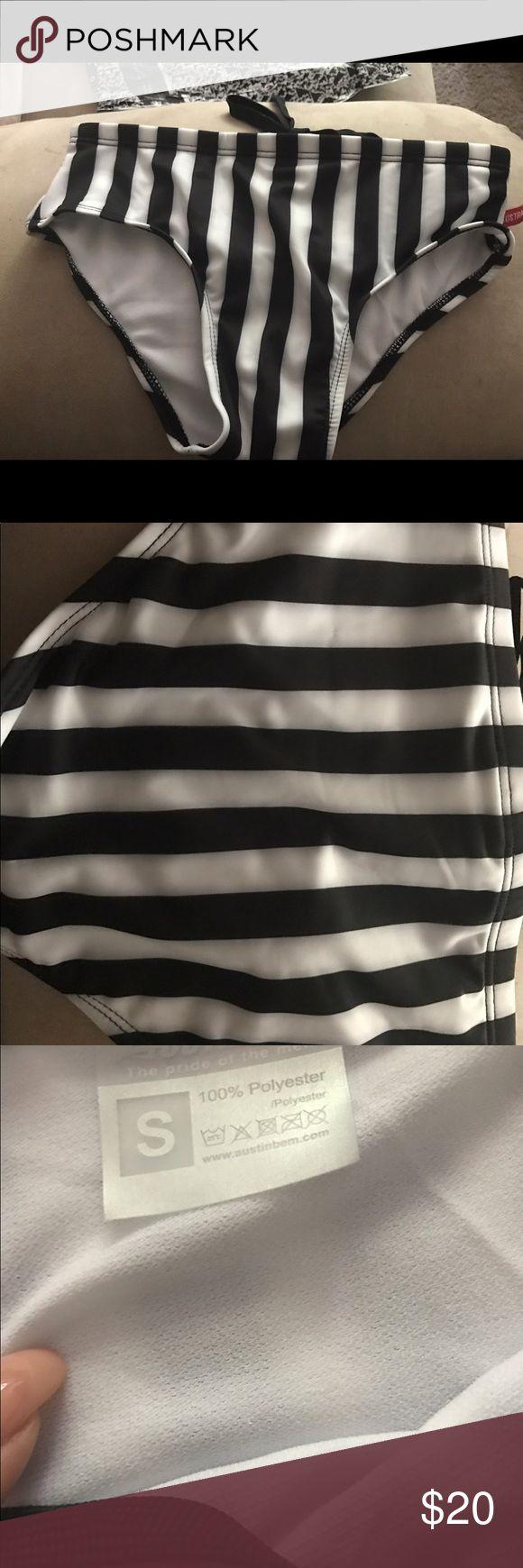 High waisted black and white stripe bikini bottom Brand new never worn size small. Needs a new home. Make an offer ASOS Swim Bikinis