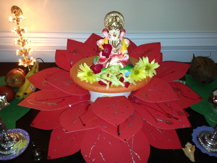Ganpati in lotus decoration ganpati pinterest for Artificial flower decoration for ganpati