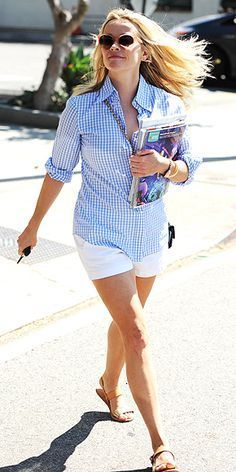 Love Her Outfit! Star Style to Steal | REESE WITHERSPOON | Is there a more perfect Saturday errands outfit than Reese's crisp gingham button-up, tailored white shorts and chic two-tone Ancient Greek sandals? (Let's not forget the sunglasses and bag from her own line, Draper James!)