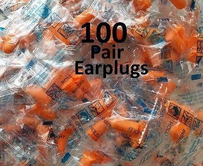 Ear Plugs 100 Pair Lot Bulk, soft foam sleep travel noise shooting, RETAIL PACK, Shipping FREE, Item location Birmingham,AL,USA (  Color - neutral,     )
