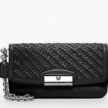Coach Kristin Woven Leather Fashion Wristlet in Black - 47479  $168