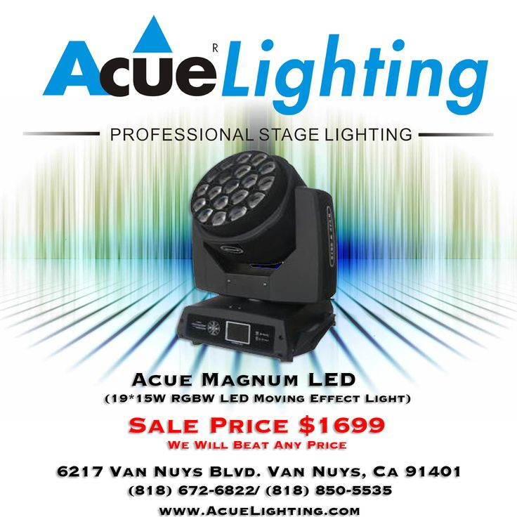 "The Magnum LED Moving Head features 19x15w RGBW LED light sources.  The entire face of the fixture has the ability to zoom back and forth and also allows for infinite rotation in either direction. Each LED has the ability to be individually controlled allowing for great ""EYE CANDY"" effects along with nice even color changes. Professional DJ equipment, stage and event lighting."