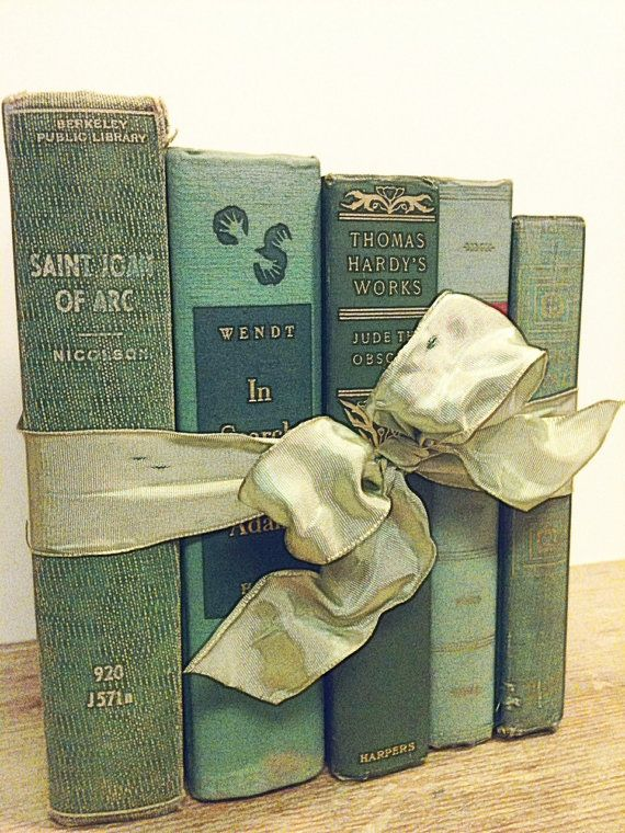 Vintage books tied together with bow...a perfect gift or display ~