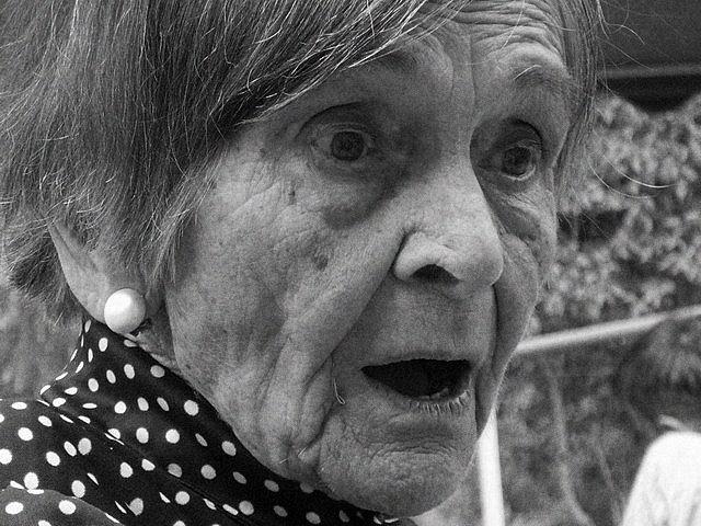 a white polka dot grandma
