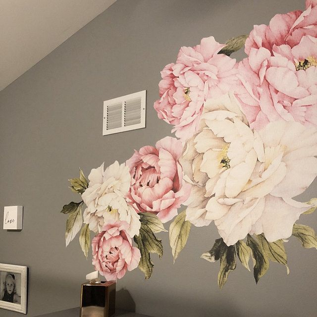 Large Peony Wall Decal Set Of 6 Flower Wall Decals Peel And