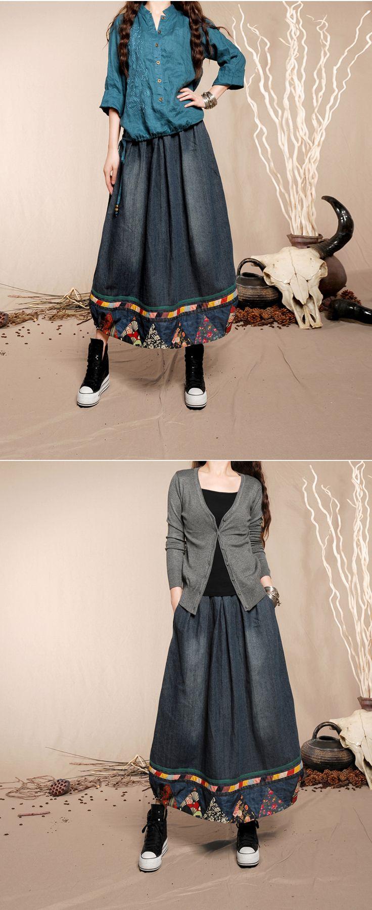 Новогодний ценопад! : Длинная юбка с карманами в боковых швах и отделкой по низу в этническом стиле