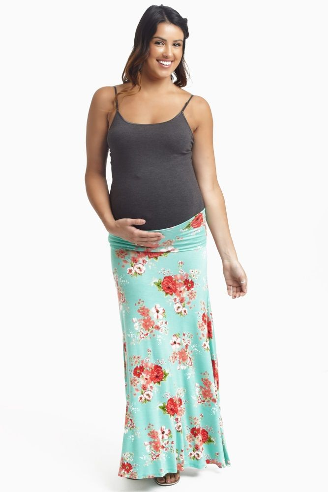 This floral printed maxi skirt is in full bloom this spring! Mint-Green-Floral-Printed-Maternity-Maxi-Skirt