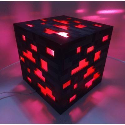 Luminária Abajur Minecraft - Redstone - R$ 110,00 no MercadoLivre