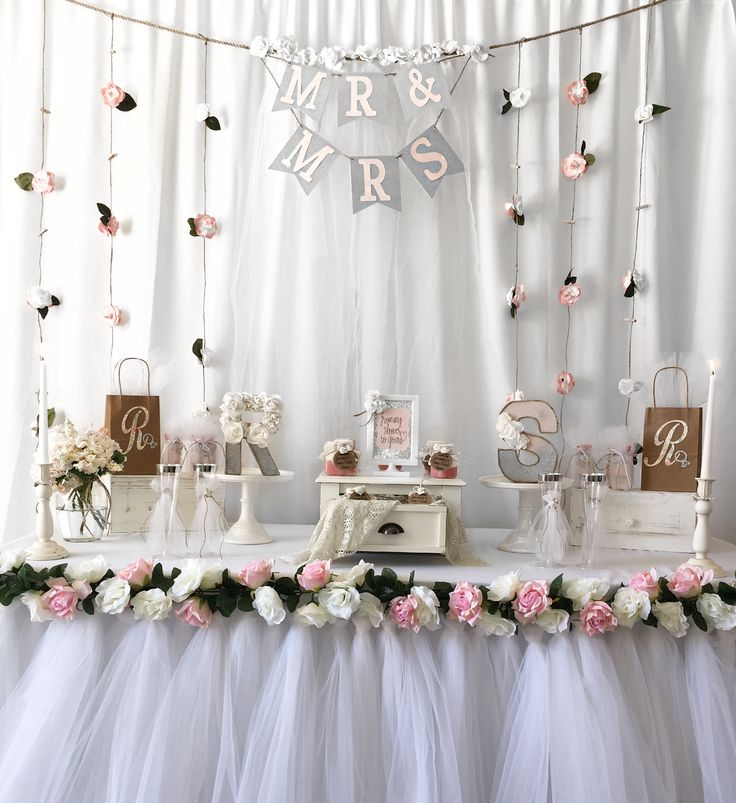 Bridal shower gift ideas, bridal shower, tutu table skirt, flower garland,wedding, Mr & Mrs, bridal shower party ideas, bridal shower party decorations, bridal shower gift table, bridal shower letters, bridal shower gift bags, bridal shower party, floral table garland