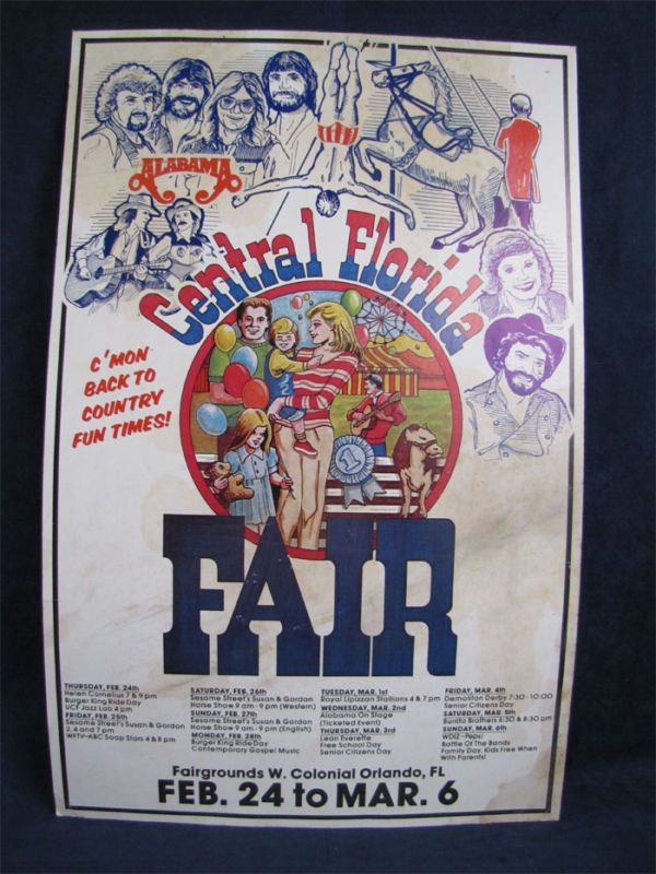 'C'mon Back to Country Fun Times' Central Florida Fair poster #vintage