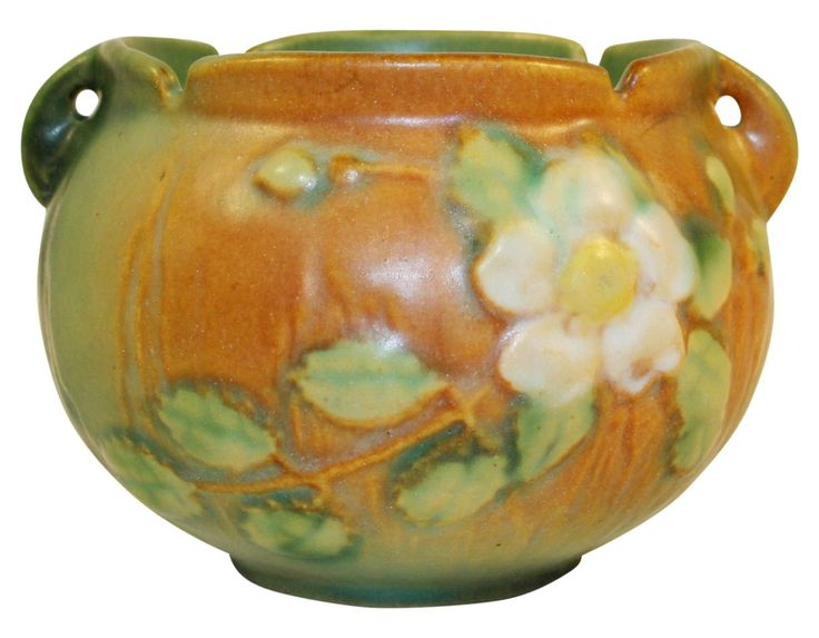 Roseville Pottery White Rose Brown And Green Jardiniere 653-3