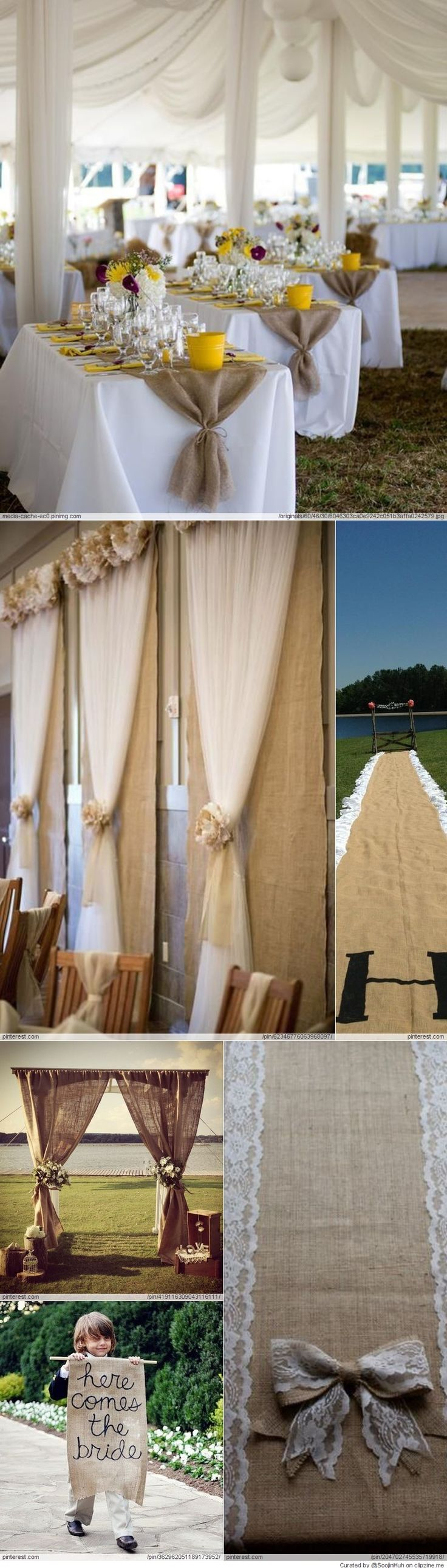 Tie burlap on ends of tables and use curtain rod with burlap for arch way at ceremony.  Copper accents, ivory..