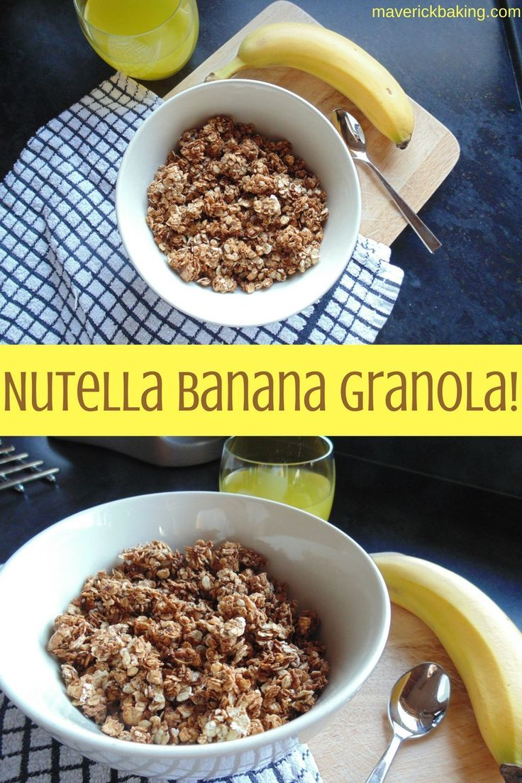 Nutella Banana Granola! Crunchy oat clusters of chocolate hazelnut banana goodness!