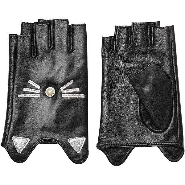 Karl Lagerfeld K/Ikonik Embellished Fingerless Leather Gloves (€89) ❤ liked on Polyvore featuring accessories, gloves, black, karl lagerfeld gloves, cat gloves, karl lagerfeld, leather gloves and fingerless gloves