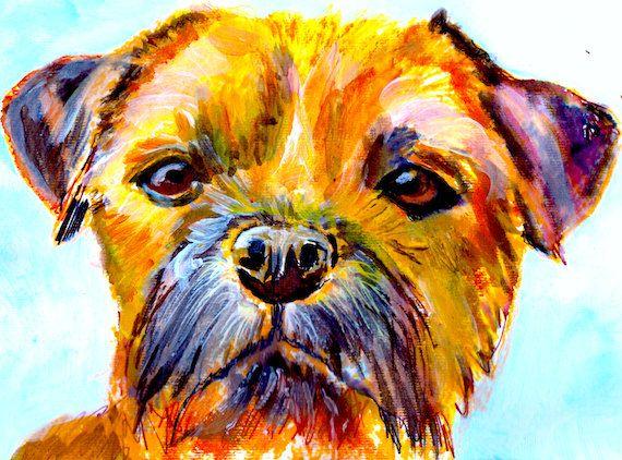 Border Terrier print - Dog Painting - Fine art Print - Hand Signed Canine Art Border Terrier gift idea by OjsDogPaintings:… #dogs #etsy #art