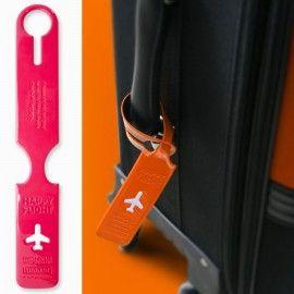 Etiquette identification bagages Happy Flight - rose