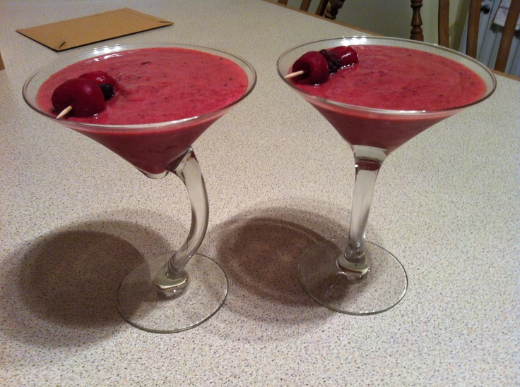 Wine smoothies :) 1 cup frozen mixed berries 1 cup wine (moscato is good) blended