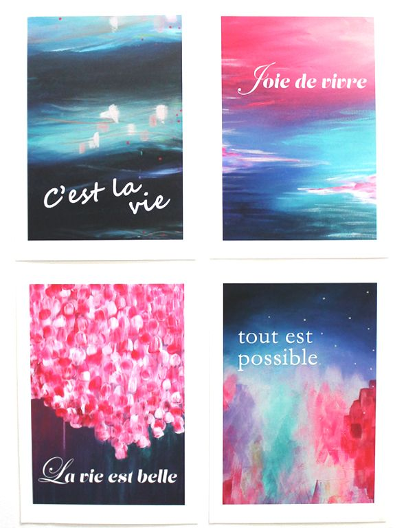 You can purchase all 4 pieces in the A4 art prints of 'The Journey Collection' as a group at this special discounted price. It includes: 1 x A4 art print 'C'est la vie' Awakening 1 x A4 art print 'Joie de vivre' Evolve 1 x A4 art print 'La vie est belle' Passion 1 x A4 art print 'tout est possible' Alight They areopen edition prints, A4 size andare printed on beautiful 200gsm museum quality cotton rag with pigment inks.