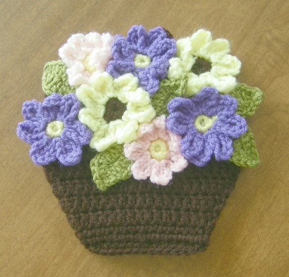 Potholder Crocheted Flower Basket Wall Decor by prettypelican