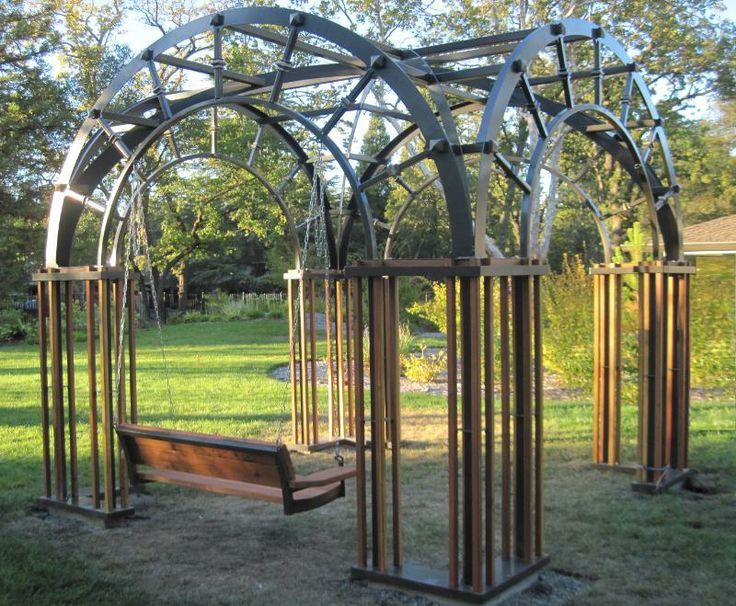 Wrought Iron Wall Trellis: Custom Made Gazebo In Sacramento. Vaulted Iron Roof Lines