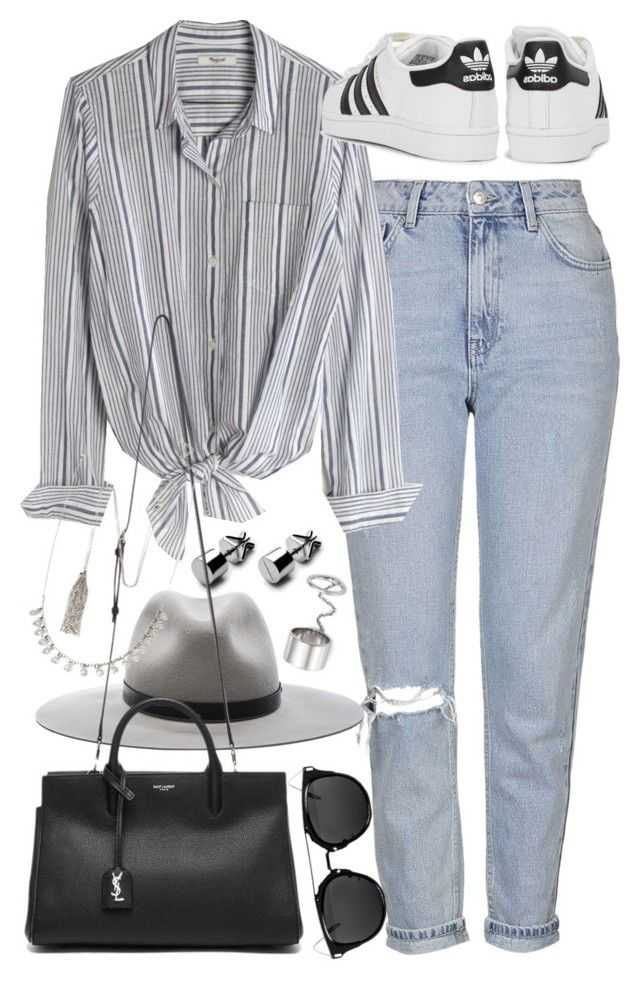 """""""Outfit with mom jeans and a striped shirt"""" by ferned on Polyvore featuring Topshop, Madewell, rag & bone, adidas Originals, Yves Saint Laurent, Forever 21 and Elizabeth and James"""