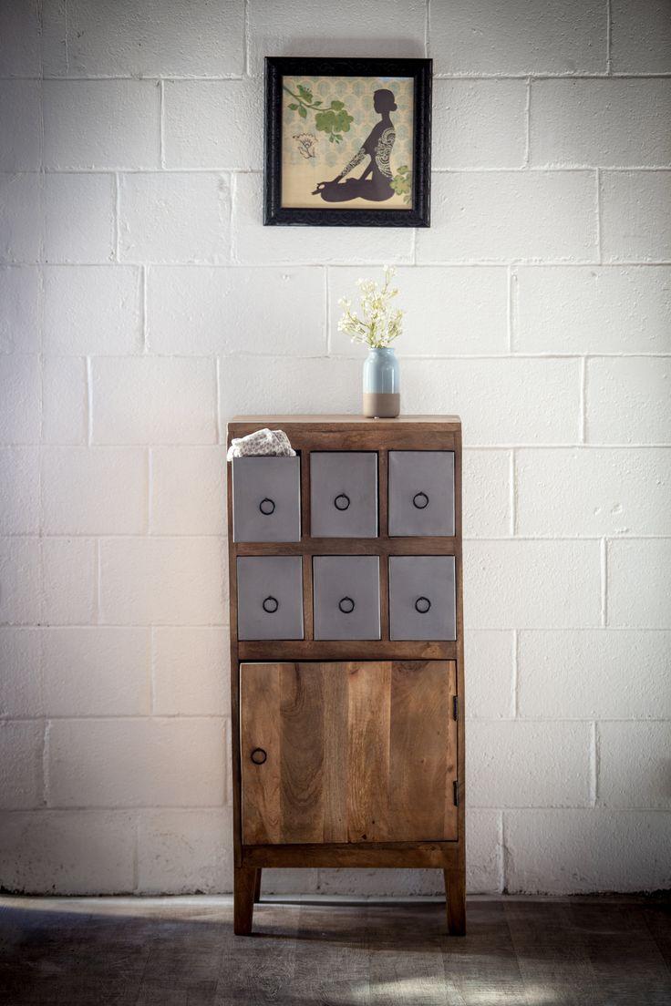 Chiffonnier design bois m tal 6 tiroirs http www for Meuble urbain