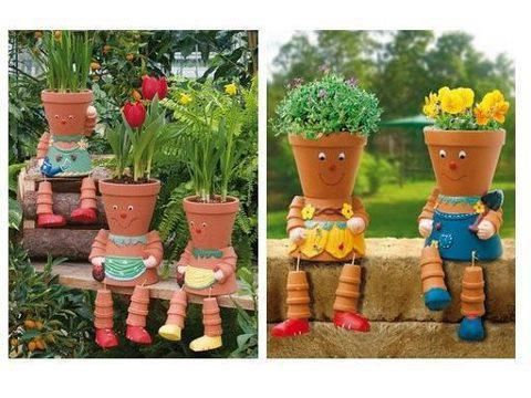 Clay pot people. Website has turorial and other cute ideas.  Kids would love making these.