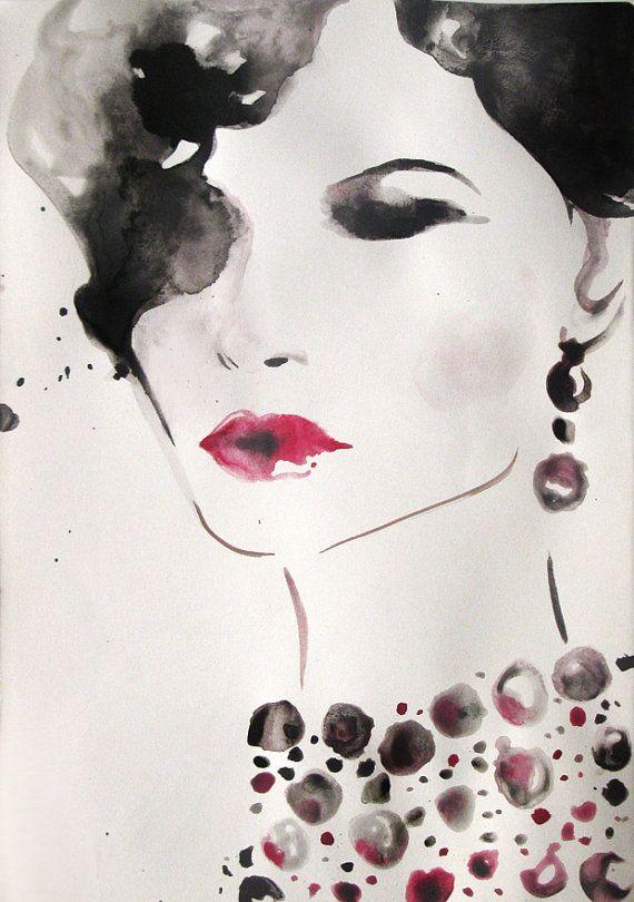 Watercolor - Art - Woman portrait - Original Painting - fashion illustration