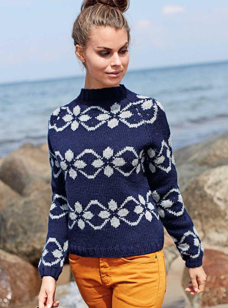 Схема и описание вязания на спицах пуловера с фарерскими узорами из журнала Burda. Creazion 04/2014