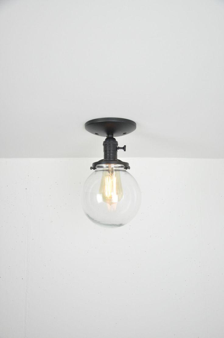 black glass globe semi flush mount light fixture