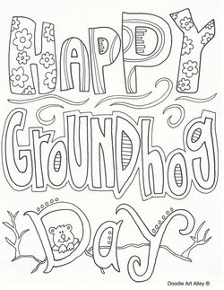 Groundhog Day coloring sheets