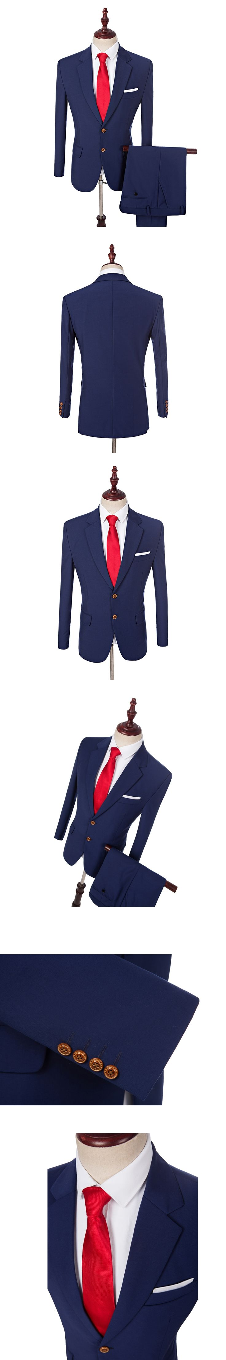 HB014 Custom Made Notch Lapel Classic Navy Blue Tuxedos Groom Wedding Prom Suits Groomsmen Best Man Suit 2 Button (Jacket+Pants)