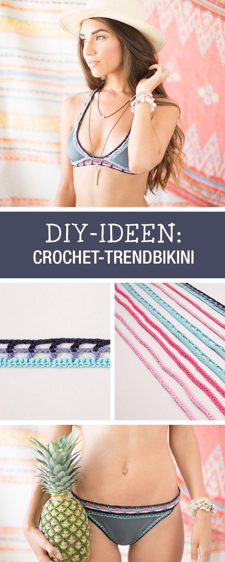 Im Trend: Anleitung für einen Crochet-Bikini mit Häkelleiste, Boho Stil / how to crochet your own boho bikini via DaWanda.com