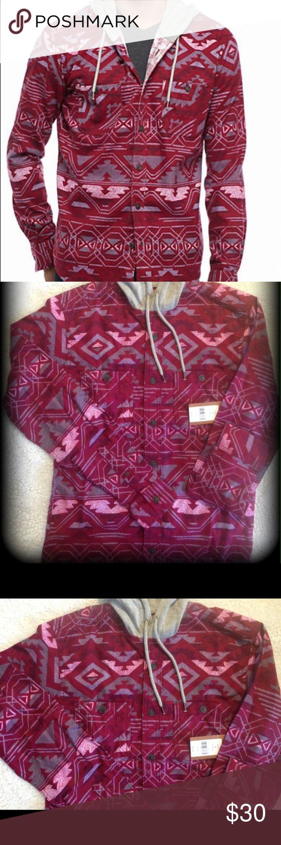 Hooded Tribal flannel Color is called Cranberry. Button up. Two front button close pockets. Button sleeve. Grey drawstring hoodie. Rounded shirttail design at bottom. I think this could def be a unisex shirt. Great looking tribal designs. Red Camel Shirts Sweatshirts & Hoodies