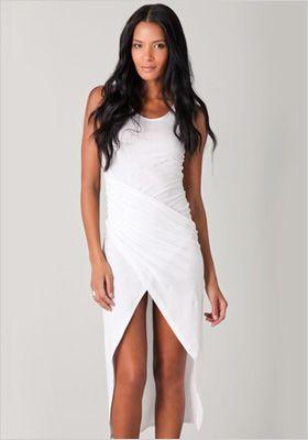Draped white Asymmetrical dress