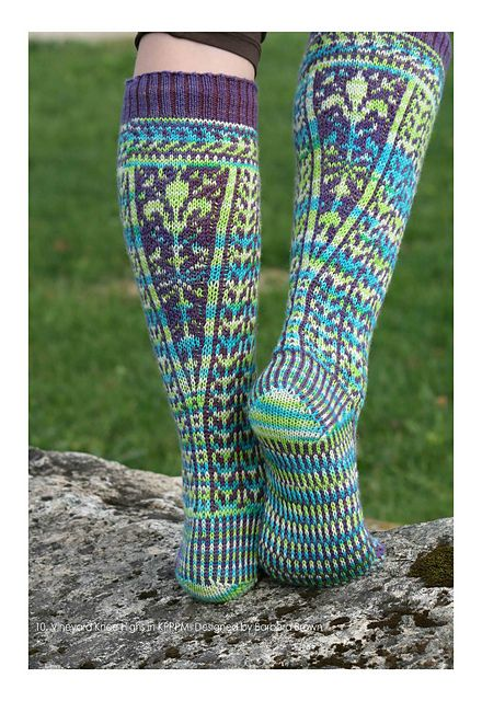Nice use of the calf increase to display a pretty design. Ravelry: Vineyard Kneehighs pattern by Barb Brown