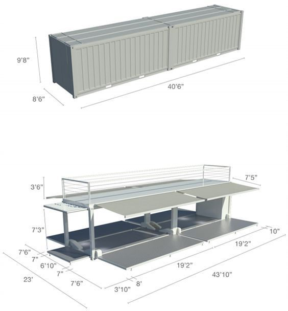 Steel Space 40 - Technical SpecificationsTECHNICAL SPECIFICATIONS  Floor space first level: 920sf Floor space second level: 230sf Total surface: 1150sf Weight: 28 000 lbs with 500 lbs of furniture