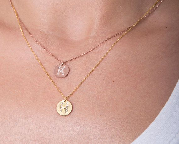 Silver disc initial necklace CZ initial by elegantjewelbox on Etsy, $29.00