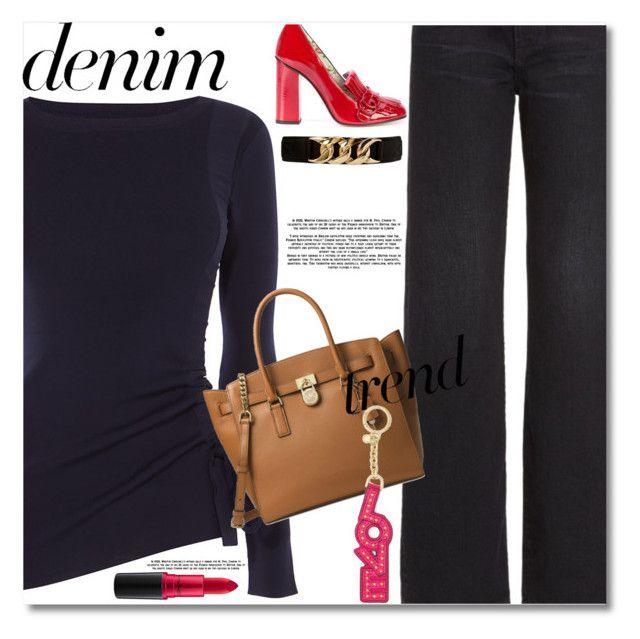 """""""Denim Trend"""" by caticorn16 ❤ liked on Polyvore featuring Karen Millen, Simon Miller, Gucci, Michael Kors, Forever 21, MAC Cosmetics, denim, Trendy, trend and denimtrend"""