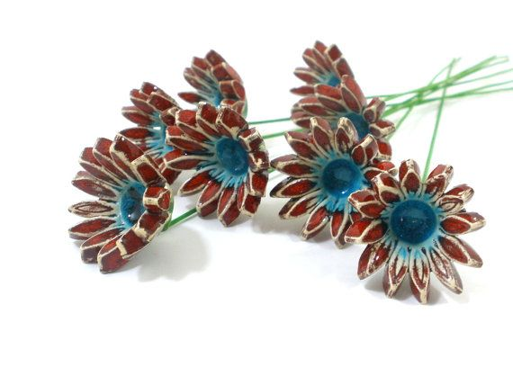 Ceramic Red and turquoise bouquet Stylish Home decoration