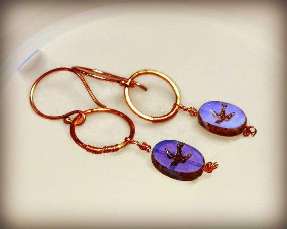 Swallow earrings lilac glass glass bird earrings by ColourMystic