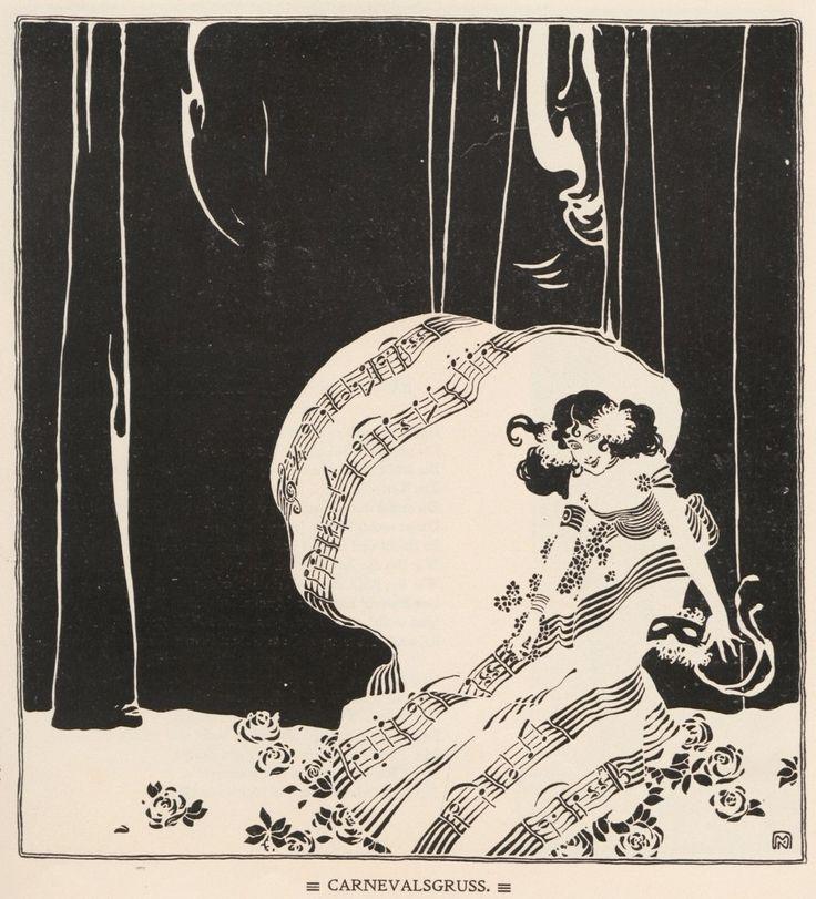 Koloman Moser, Carnival Greetings, Ver Sacrum 1898 # 2