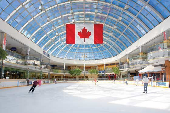 Edmonton, Alberta, Canada. Full regulation sized indoor hockey rink at West Edmonton Mall. Often you can watch the Stanley Cup Champion Edmonton Oilers hockey team practicing at the venue.