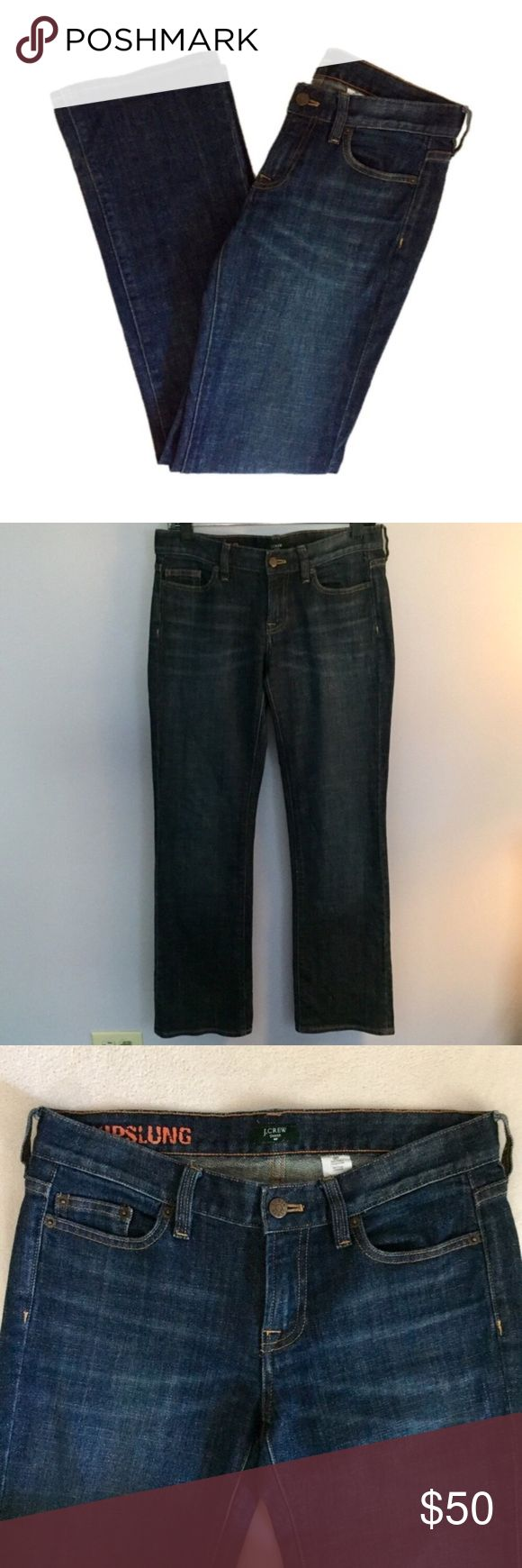 """J. Crew Hipslung Dark Blue Jeans J. Crew Hipslung Dark Blue Jeans. Boot cut. THERE IS ONE SCRATCH ON THE BACK NEAR THE POCKET. SEE PICTURE 5. Size 28 Regular. Equivalent to a size 6. Waist 31"""" Hips 36.5"""" Inseam 31.25"""" Excellent Condition! Let me know if you have any questions! ✅ I LOVE OFFERS ✅ 💜INSTAGRAM: @ocaputostyle J. Crew Jeans Boot Cut"""